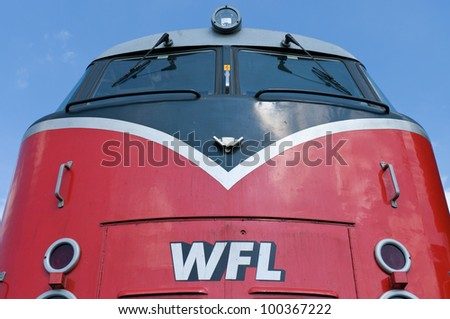 "BERLIN - APRIL 14: The diesel locomotive ""Lok 20 WFL"", the Spring Festival, the exhibition in the Rail yard Schoeneweide, April 14, 2012 in Berlin, Germany"