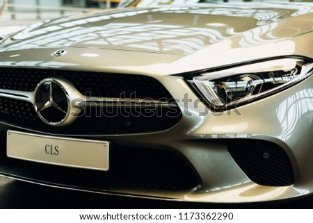 Berlin, August 29, 2018: A close-up of the new silver Mercedes-Benz CLS #1173362290