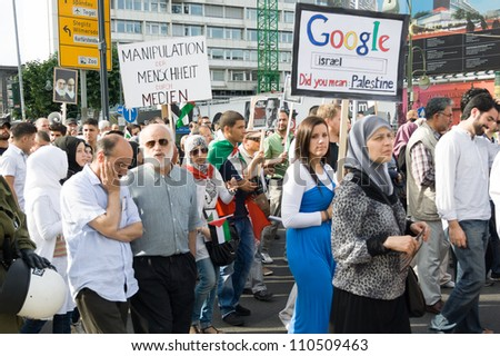 BERLIN - AUGUST 18: Al-Quds Day. Demonstrations against Israel, and its control of Jerusalem; solidarity with the Palestinian people, August 18, 2012 in Berlin, Germany