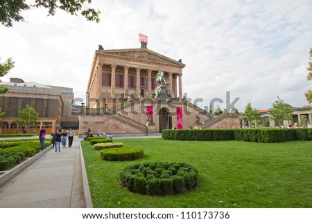 BERLIN, AUGUST 6: Alte Nationalgalerie at Museumsinsel in Berlin. It is a gallery showing a collection of Neoclassical, Romantic, Biedermeier, Impressionist and early Modernist artwork, August 6, 2012
