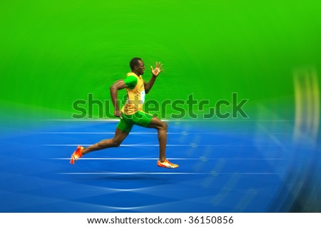 BERLIN  - AUGUST 20: Asian Bolt of Jamajca in the 12th IAAF World Championships in Athletics. August 20, 2009 in Berlin, Germany.