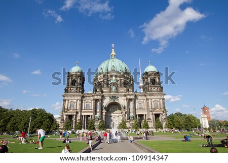 BERLIN - AUGUST 6: Berliner Dom,or Berlin Cathedral on August, 6, 2012. It was built between 1895 and 1905. The current building replaced in 1894.