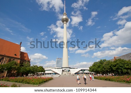BERLIN, AUGUST 6: Panoramic view of Berlin TV tower or Fernsehturm, Alexanderplatz, Germany on August 6, 2012. From tower, viewer have 360 degree view at Berlin.