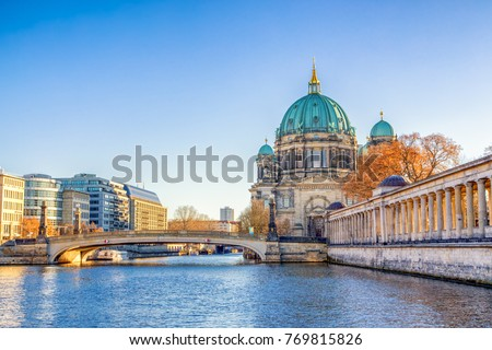 Berlin Cathedral (Berliner Dom) and Museum Island (Museumsinsel) reflected in Spree River, Berlin, Germany, Europe. #769815826