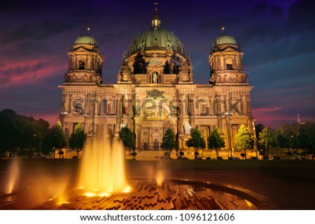 Berlin Cathedral Berliner Dom at sunset in Germany