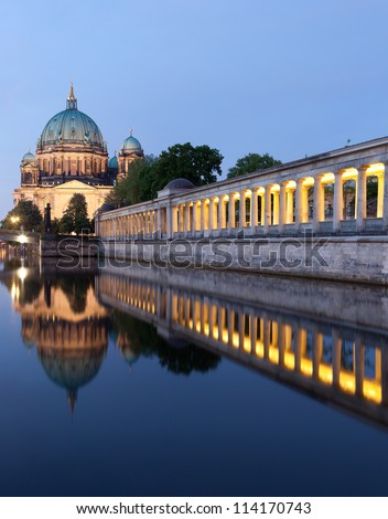 Berlin Cathedral (Berliner Dom) panorama reflection, famous landmark in Berlin City, Germany at night