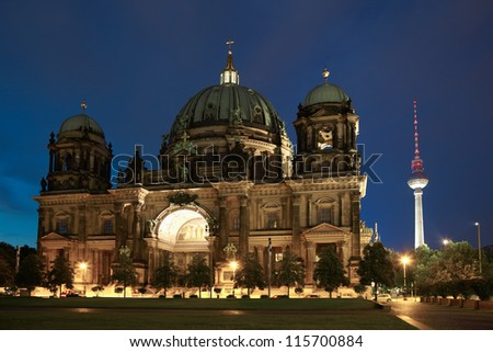 Berlin cathedral or Berliner Dom at night, Germany