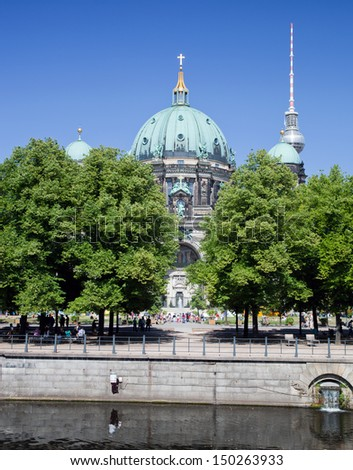 Berlin Catherdral and Television Tower in Berlin, Germany. German Berliner Dom and Fernsehturm