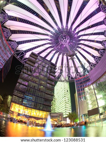BERLIN - CIRCA 2011: Potsdamer platz, roof dome of Sony Center on CIRCA 2011 in Berlin, Germany Potsdamer platz, destroyed during World War II, is the most redeveloped area since German reunification. - stock photo