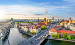 Berlin cityscape at sunset, Germany