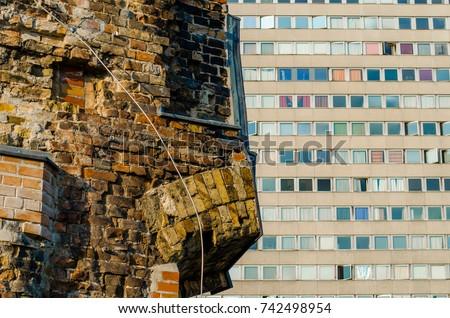 Berlin contrast - World War 2 ruins and commieblocks.