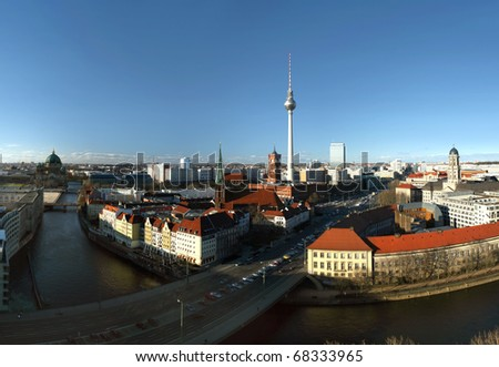 "Berlin, district Mitte, with the the ""red"" town hall, the television tower (Alexanderplatz) and Nikolaikirche - view from south to north"
