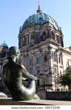 Berlin Dome or Berlin Cathedral with Statue