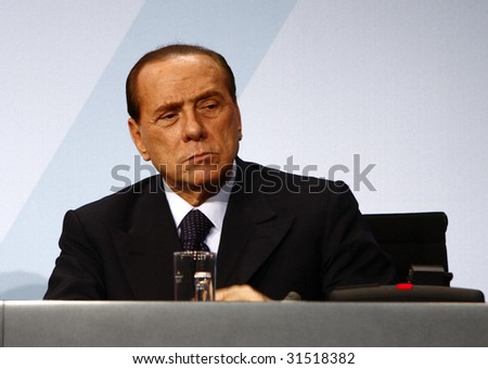 BERLIN FEBRUARY 22 Italian Prime Minister Silvio Berlusconi at the G20 Preporatory Summit in Berlin on February 22 2009