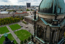 Berlin, Germany aerial photo from top of Berliner Dom cathedral of museum island and