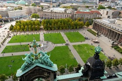 """Berlin, Germany aerial photo from top of Berliner Dom cathedral of museum island and """"Lustgarten"""" meaning """"Pleasant Garden"""" in German"""