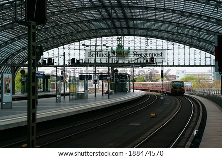 BERLIN, GERMANY - APRIL 11, 2014: Berlin Central Station. Railway platform. The central station of Berlin - the largest and modern railway station of Europe.