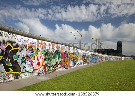BERLIN, GERMANY - APRIL 15, 2013: The memorable segment of the barrier wall from communist history called 'Berliner Mauer' which collapsed 1989, is the largest world amateur art gallery of graffiti.