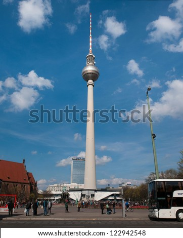 BERLIN, GERMANY - APRIL 14: The television tower of Berlin represents the tallest building in Germany with a height of 368m on April 14, 2012. It's one of the Berlin's well-known landmarks.
