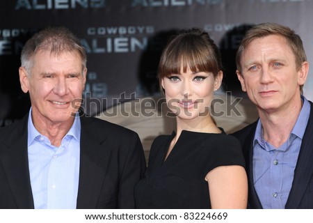 BERLIN, GERMANY - AUGUST 08: Harrison Ford, Olivia Wilde and Daniel Craig attend the 'Cowboys and Aliens' Premiere in Cinestar on August 8, 2011 in Berlin, Germany.