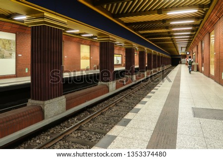 Berlin, Germany - August 31, 2018 - subway station Zitadelle #1353374480