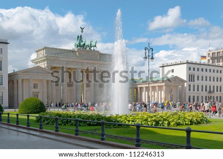 BERLIN, GERMANY - AUGUST 26: The Brandenburg Gate on August 26, 2012. The Brandenburg Gate is the famous landmark of Berlin and Germany located near Pariser Platz.
