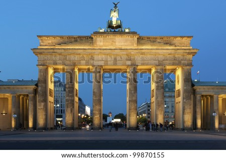Berlin, Germany -  Brandenburg Gate in Berlin once one of the iconic locations in the division of East and West German. The Berlin Wall ran around the place in front of the gate