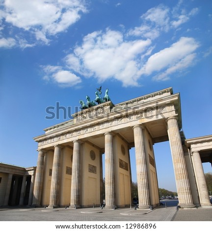 Berlin, Germany. Branderburger Tor with beautiful  blue cloudscape - stock photo