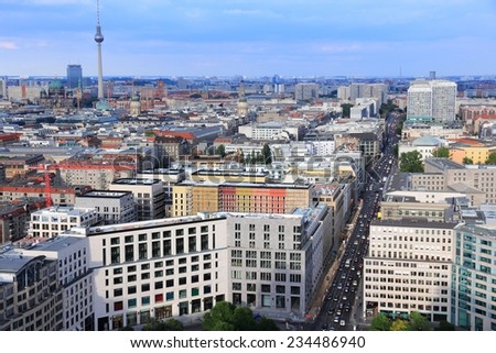 Berlin, Germany. Capital city architecture aerial view with famous TV Tower.