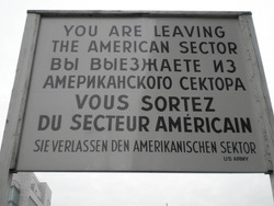 Berlin, Germany - 01 27 2020: Checkpoint Charlie leaving sign