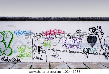 BERLIN, GERMANY, CIRCA MAY 2012 - Segments of the Berlin Wall with colorful graffiti circa May 2012