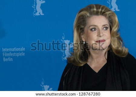 BERLIN, GERMANY - FEBRUARY 15: Actress Catherine Deneuve attends the 'On My Way' Photocall during the 63rd Berlinale International Film Festival on February 15, 2013 in Berlin, Germany. - stock photo