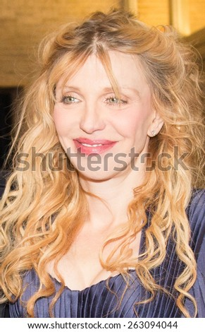 BERLIN, GERMANY - FEBRUARY 07: Courtney Love attend the \'Cobain: Montage of Heck\' premiere during the 65th Berlinale International Film Festival at Kino International on February 7, 2015