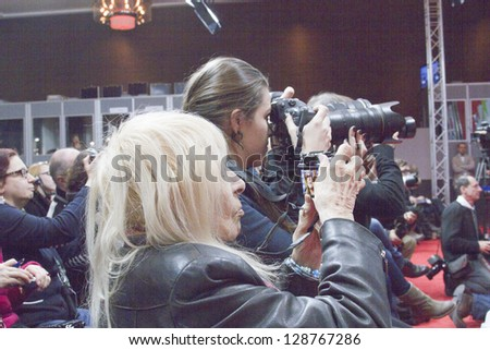 BERLIN, GERMANY - FEBRUARY 15: Photographer attend the 'On My Way' Press Conference during the 63rd Berlinale International Film Festival on February 15, 2013 in Berlin, Germany.