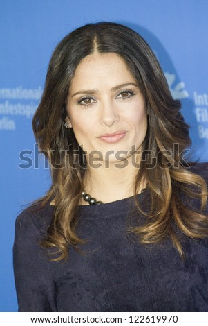 BERLIN, GERMANY - FEBRUARY 15: Salma Hayek attends the 'La Chispa De La Vida' Photocall during of the 62nd Berlin Film Festival at the Grand Hyatt on February 15, 2012 in Berlin, Germany. - stock photo