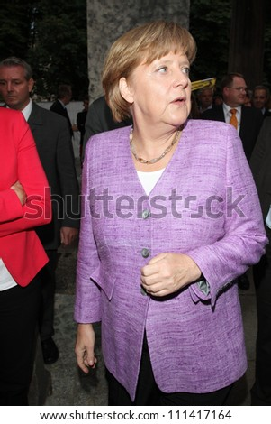 BERLIN, GERMANY - JULY 02: Chancellor Angela Merkel attends ZDF Summer Reception on July 2, 2012 in Berlin, Germany.