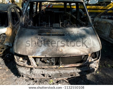 Berlin, Germany - June 16, 2018: Completely burnt out cars #1132550108
