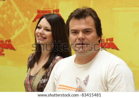 BERLIN, GERMANY - JUNE 07: Jack Black and german actress Cosma Shiva Hagen attend the 'Kung Fu Panda 2' photocall at Hotel de Rome on June 7, 2011 in Berlin, Germany.