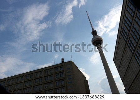 Berlin, Germany, 13 June 2018. The television tower at Alexanderplatz with the backdrop of a blue sky #1337688629