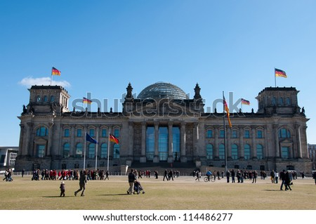 BERLIN, GERMANY - MARCH 19: Reichstag, on March 19, 2011 in Berlin Germany is Parliament building of  German Empire. Opened in 1894 and housed the Parliament until 1933, when it was severely damaged.