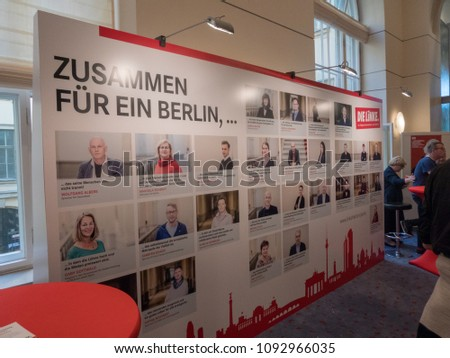 Berlin, Germany - May 5, 2018: Promoting area of the German political party Die Linke. Left Party is a democratic socialist and left-wing populist