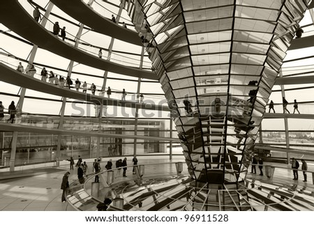 BERLIN, GERMANY-May 16: Reichstag dome of the Parliament house of the German Empire. Opened in 1894 and housed the Parliament until 1933, when it was severely damaged. May 16 2011, Berlin, Germany