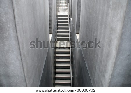 BERLIN, GERMANY - MAY 21: The Memorial to the Murdered Jews of Europe shown in Berlin on May 21, 2010. The memorial was designed by architect Peter Eisenman and engineer Buro Happold.