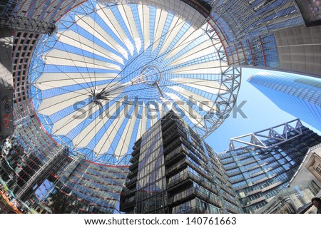 BERLIN, GERMANY - MAY 15: The Sony Center ceiling in a low angle fish eye view on May 15, 2013 in Berlin, Germany. The Sony Center is a Sony-sponsored building complex located at the Potsdamer Platz