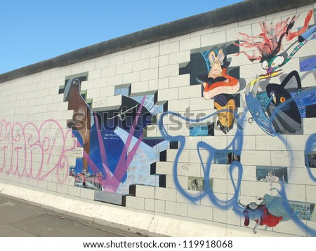 BERLIN,GERMANY- NOVEMBER 18: remains of 1.3 kilometers of the Berlin Wall has become the largest outdoor art gallery as the East Side Gallery restored on 2009 on 18,2012 in Berlin-Germany