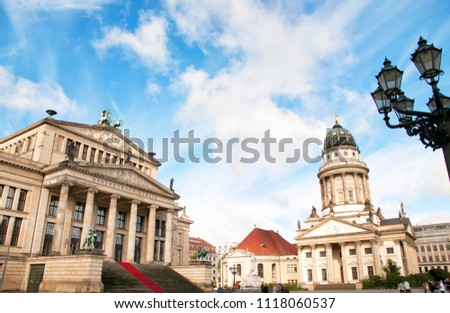 Berlin, Germany - October 8, 2017: Concert Hall (Konzerthaus) and Französischer Dom (French Cathedral) at Gendarmenmarkt square in Berlin, Germany