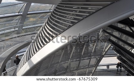 BERLIN, GERMANY - OCTOBER 23: People visiting the Reichstag dome at the German parliament October 23, 2010 in Berlin, Germany