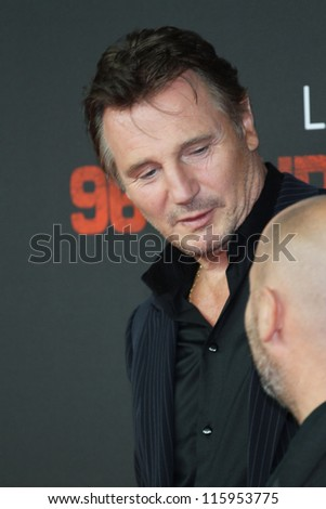 BERLIN, GERMANY - SEPTEMBER 11: Actor Liam Neeson and director Olivier Megaton attend the '96 Hours- Taken 2' Germany Premiere at Kino in der Kulturbrauerei on September 11, 2012 in Berlin, Germany.