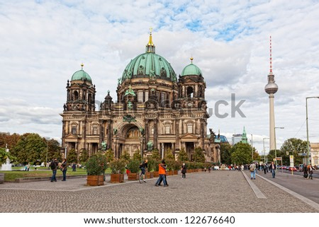 BERLIN, GERMANY - SEPTEMBER 23: Beautiful day view of Berlin Cathedral (Berliner Dom), September 23,2012, Berlin, Germany. Berlin cathedral is the biggest Protestant church of Germany