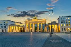 Berlin Germany, sunset city skyline at Brandenburg Gate (Brandenburger Tor)